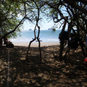 Picinic under the trees on deserted Playa Zapotal
